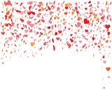 Flying heart confetti. Vector illustration for holiday design. Many flying hearts on white Stock Photography
