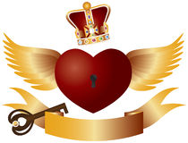 Flying Heart with Crown Jewels and Key Stock Images