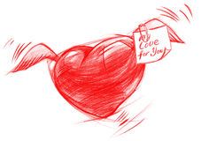 Flying Heart with Message, Sketch Drawing Royalty Free Stock Images