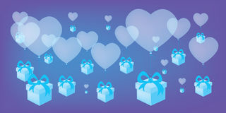 Flying heart shaped balloons with blue gift boxes vector background Stock Photo