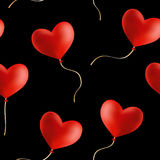 Flying heart shaped balloons,  seamless background. Stock Photography