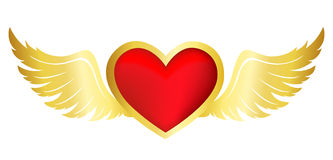 Flying heart with wings Stock Image