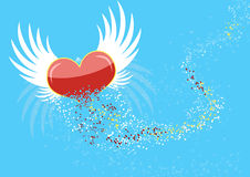 Flying heart with the wings, broken into particles Stock Photos