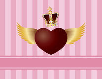 Flying Heart with Wings and Crown on Pink Backgrou Stock Photos