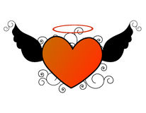 Flying heart / wings illustration. Flying heart / winged heart illustration Stock Photo