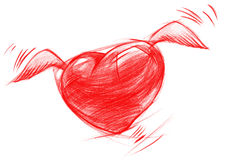 Flying Heart with Wings, Sketch Drawing Royalty Free Stock Photography
