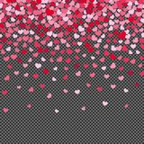 Flying hearth confetti on transparent background royalty free illustration