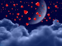 Flying hearts. A lot of hearts flying in the night Stock Images