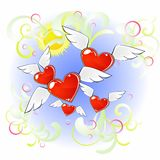 Flying hearts Stock Photography