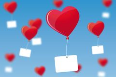 Flying Hearts Stock Photo
