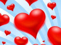 Flying hearts. On a blue striped background Stock Image