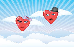 Flying hearts. Stock Images