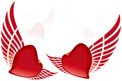 Flying hearts Stock Images