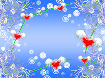 Flying hearts. Many flying hearts on a background of colors Royalty Free Stock Images