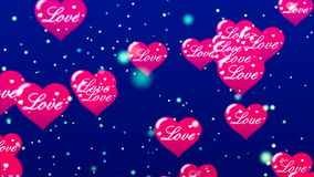 Flying Hearts. Abstract Loopable Background. HD Loopable Abstract Background with nice flying hearts for club visuals, LED installations, broadcasting featuring stock video footage