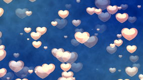 Flying Hearts. Abstract Loopable Background. HD Loopable Abstract Background with nice flying hearts for club visuals, LED installations, broadcasting featuring stock video