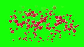 Flying hearts animation on green screen. 4K hearts 2D animation