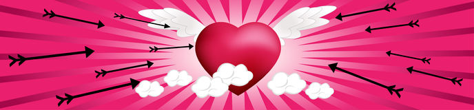 Flying Hearts with Arrows Stock Photos
