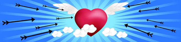 Flying Hearts with Arrows Stock Images