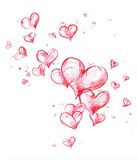 Flying Hearts as Air Bubbles Royalty Free Stock Images