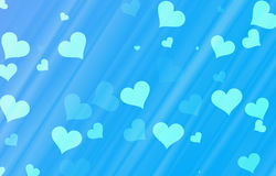 Flying hearts on blue backgrounds Royalty Free Stock Images