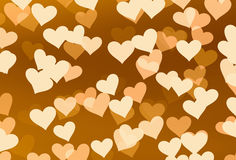 Flying hearts on brown backgrounds Stock Images