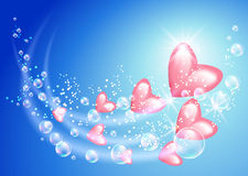 Flying hearts and bubbles Royalty Free Stock Image