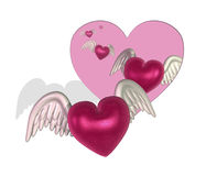 Flying Hearts Cutout Stock Image