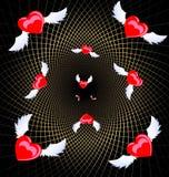 Flying hearts Stock Image