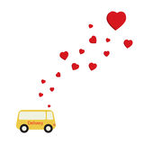 Flying hearts from delivery van Royalty Free Stock Photo