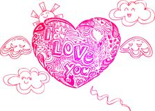 Flying hearts with doodles Royalty Free Stock Images