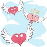 Flying hearts emotion. Funny vector illustration of cartoon flying hearts emotion Stock Photography
