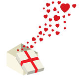 Flying hearts from gift box Royalty Free Stock Photos