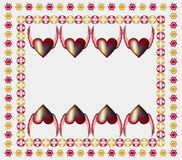 Flying hearts greeting. Mixture of dark red and golden nuances on a beige background. In the center there is a space for a proposal or dedication Royalty Free Stock Photography