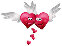 Flying Hearts in Love. Isolated on white background Royalty Free Stock Photo