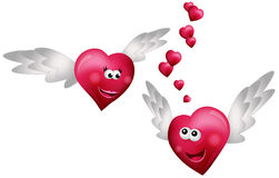 Flying Hearts in Love. Isolated on white background Royalty Free Stock Photography