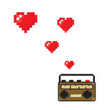Flying hearts from old radio pixels art style Royalty Free Stock Images