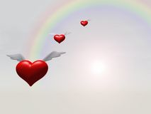 Flying Hearts over Rainbow. A 3D Illustration of Flying Hearts over Rainbow Royalty Free Stock Images