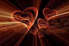Flying hearts painted by fire flame or smoke on black background full of gift boxes. 3d illustration.  Stock Images