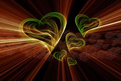 Flying hearts painted by fire flame or smoke on black background full of gift boxes. 3d illustration.  Stock Photography