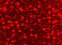 Flying hearts on a red backgrounds Stock Photo