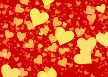 Flying hearts on red backgrounds Stock Images