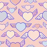 Flying hearts seamless pattern. Subtle pastel colours, flat design, vector illustration. Flying hearts seamless pattern. Subtle pastel colours, flat design stock illustration