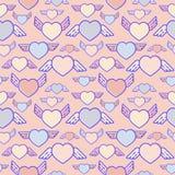 Flying hearts seamless pattern. Subtle pastel colours, flat design, vector illustration.  vector illustration