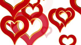 Flying hearts, wedding background, valentines day, red love hearts, alpha matte stock footage