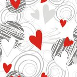 Flying hearts on white Stock Images