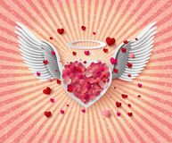 Flying hearts with wings. Royalty Free Stock Photo