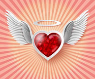 Flying hearts with wings. Royalty Free Stock Photography