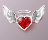 Flying hearts with wings. Royalty Free Stock Images