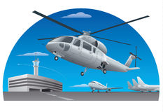 Flying helicopter in airport Stock Photography